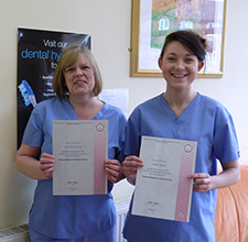 Tracy and Jennifer who successfully passed their Dental Nurse Examinations in March 2015
